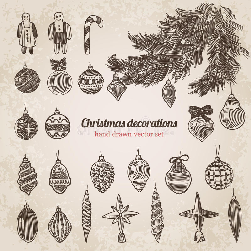 Christmas Tree Decorations Set Handdrawn Style Template