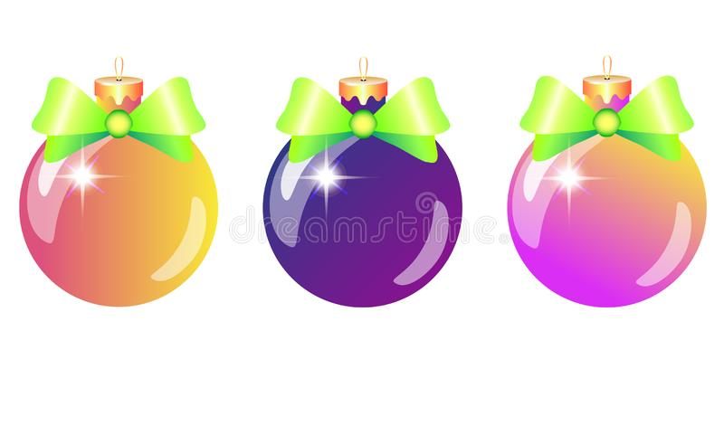 Christmas-tree decorations - a set of three shiny, bright, glass balls - pink, orange and purple with green bows. Sparkling Christ royalty free illustration