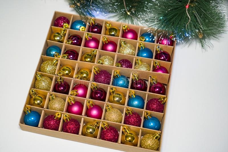 Christmas tree decorations, small colorful balls for the New Year holiday. stock photo