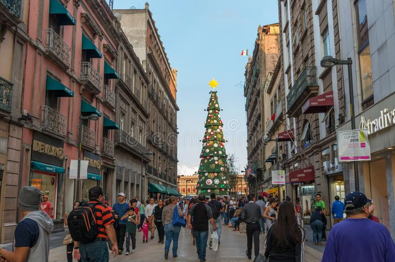 Christmas Tree Decorations on Zocalo. Mexico City. Mexico City, Mexico - November 30, 2016: Christmas Tree Decorations on Zocalo, Mexico City royalty free stock image
