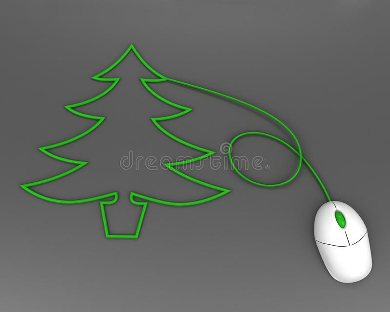 Download Christmas Tree Depicted With Computer Mouse Cable Stock Illustration - Illustration of firtree, nature: 17512952