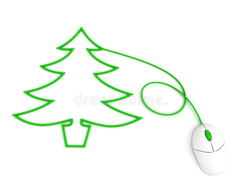 Download Christmas Tree Depicted With Computer Mouse Cable Stock Illustration - Illustration: 7257959