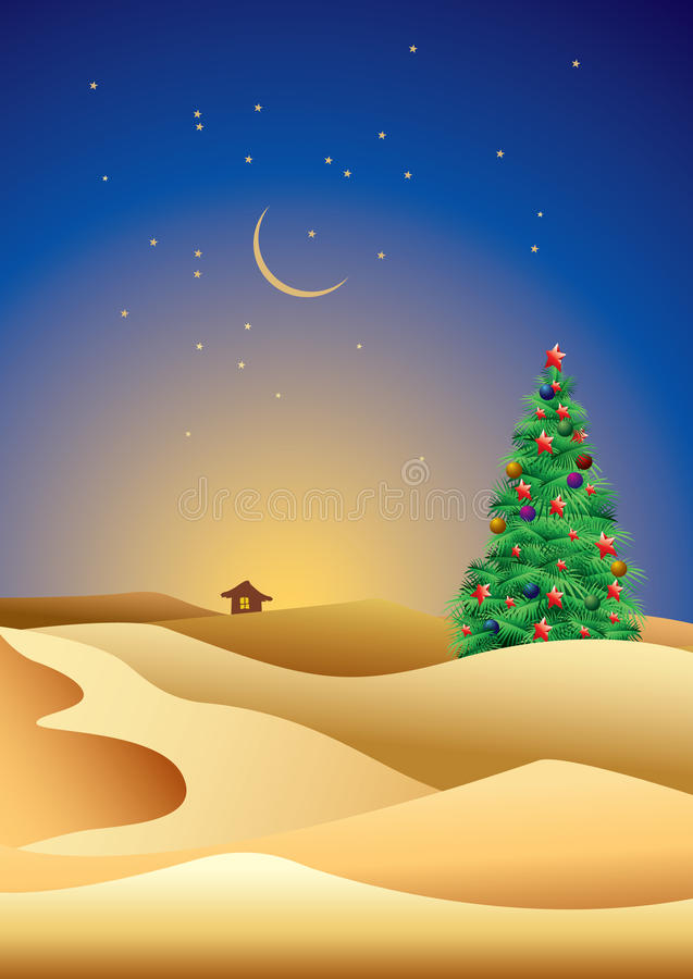 Christmas tree in desert. Illustration of decorated Christmas tree in desert at night with starry sky royalty free illustration