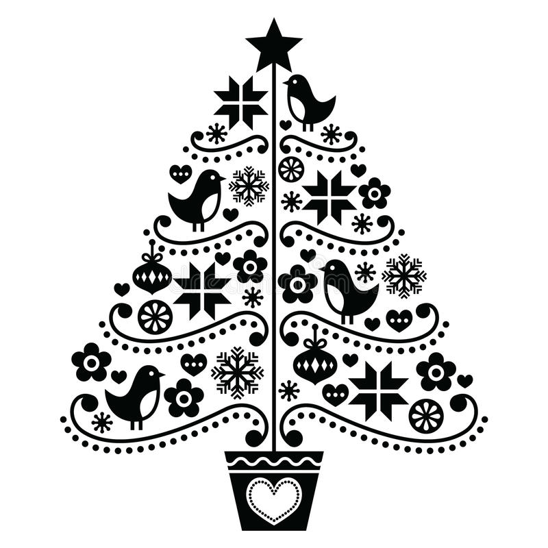 christmas tree design folk style with birds flowers and. Black Bedroom Furniture Sets. Home Design Ideas