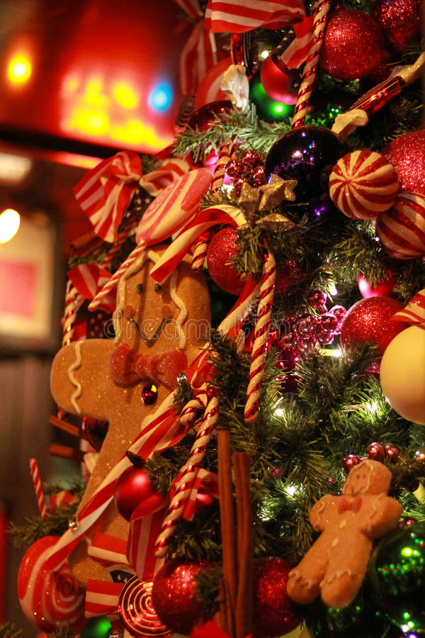 Christmas Tree Detail Decoration Gingerbread Man Warm Red royalty free stock images