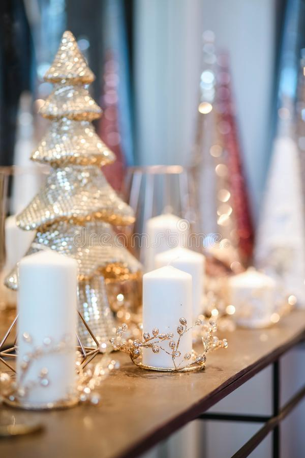 Christmas tree and details in decorated room stock photos