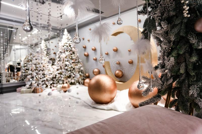 Christmas tree and details in decorated room royalty free stock photo
