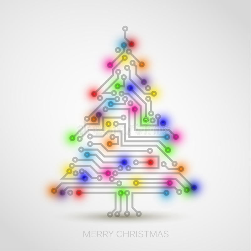 christmas tree from digital electronic circuit stock illustration