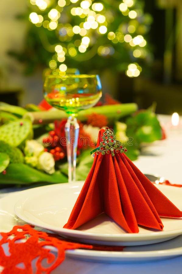 Christmas tree and dinner table royalty free stock photos
