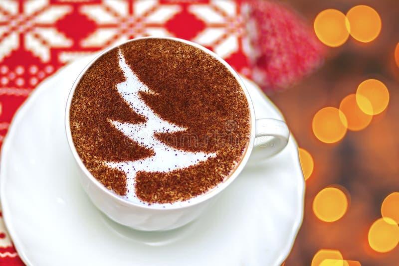 Christmas tree ,drawing coffee cup. Christmas tree ,drawing on latte art coffee cup stock photo