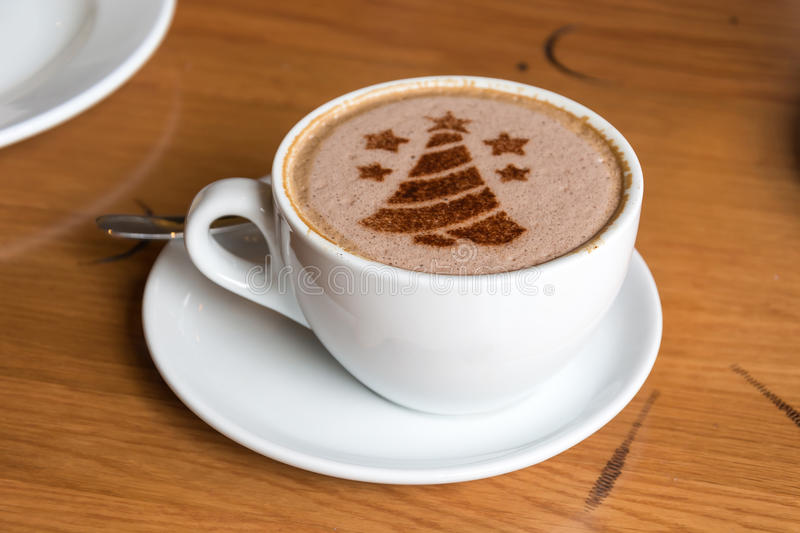 Christmas Tree, Drawing On Latte Art Coffee Cup Stock Image - Image of xmas, natural: 78790649