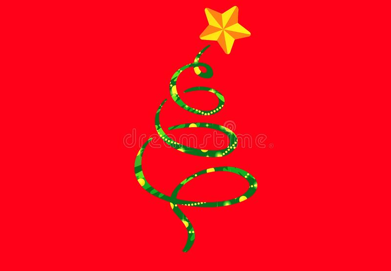 Christmas tree drawing on red background . Illustration design royalty free stock photo