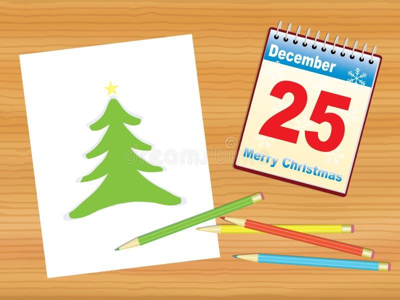 Christmas tree drawing on table stock illustration