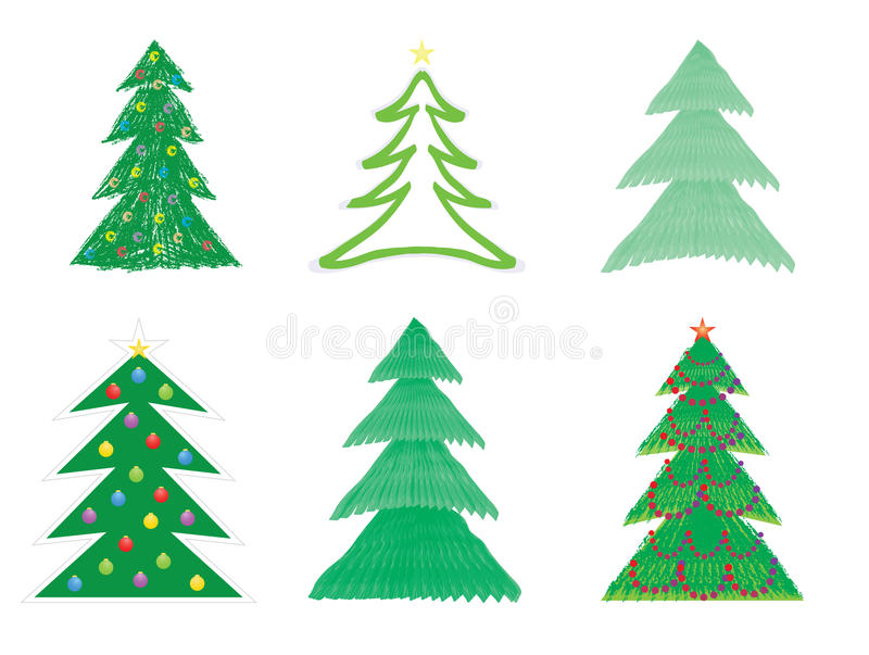 Christmas tree drawings royalty free illustration