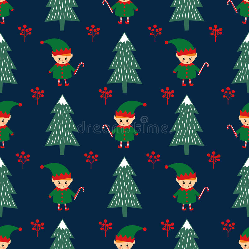 Christmas tree and elf with candy cane seamless pattern. vector illustration