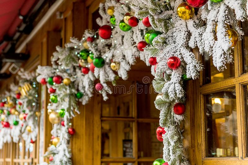 Christmas tree at the enter of a restaurant at city mall celebration merry christmas stock photography