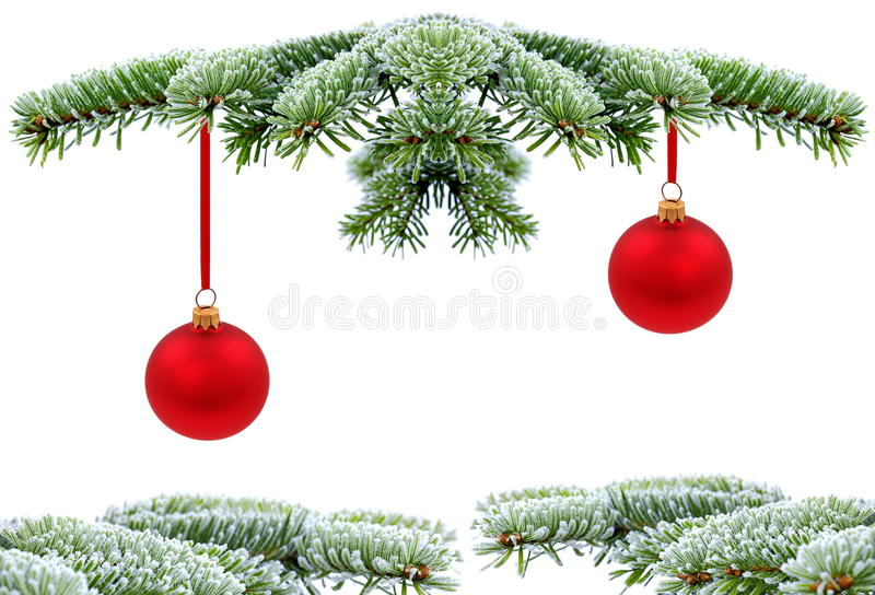 Christmas tree. Christmas evergreen spruce tree with glass ball on snow stock photo