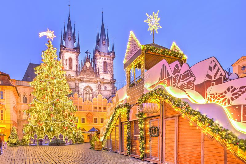 Christmas tree and fairy tale Church of our Lady Tyn, Prague, Czech Republic. Christmas tree and fairy tale Church of our Lady Tyn in Prague, Czech Republic stock image