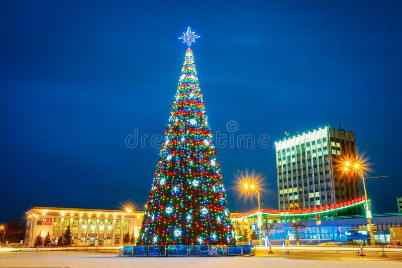 Christmas Tree And Festive Illumination On Lenin. GOMEL, BELARUS - JANUARY 05, 2015: Main Christmas Tree And Festive Illumination On Lenin Square In Gomel. New royalty free stock photography