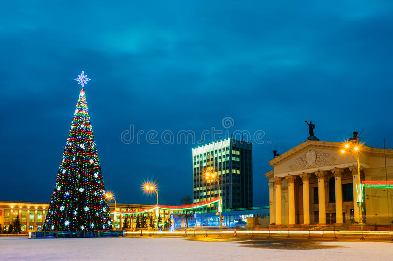 Christmas Tree And Festive Illumination On Lenin. Main Christmas Tree And Festive Illumination On Lenin Square In Gomel. New Year In Belarus stock photo