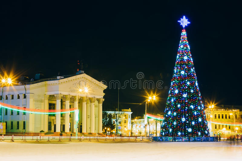 Christmas Tree And Festive Illumination On Lenin. Main Christmas Tree And Festive Illumination On Lenin Square In Gomel. New Year In Belarus royalty free stock photography