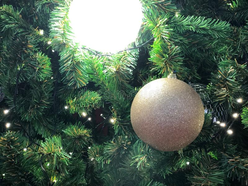 Christmas Tree fir close up decoration with big glitter golden ball has blur bokeh light background selective focus,has copy space royalty free stock photos