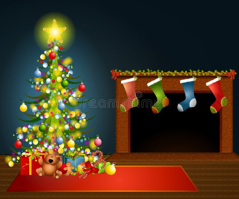 Christmas Tree Fireplace. An illustration featuring a Christmas scene with tree, gifts, fireplace and stockings hung