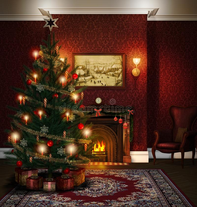 Christmas Tree Fireplace Decorated Living Room vector illustration