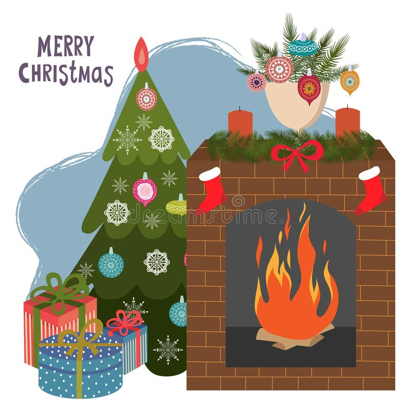 Christmas tree, fireplace and gifts. Cartoon flat vector illustration Isolated on a white background. Happy New Year vector illustration