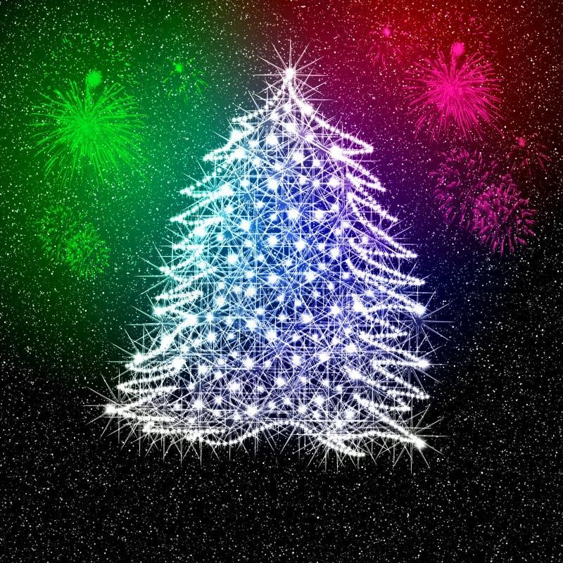 Christmas tree and fireworks stock image