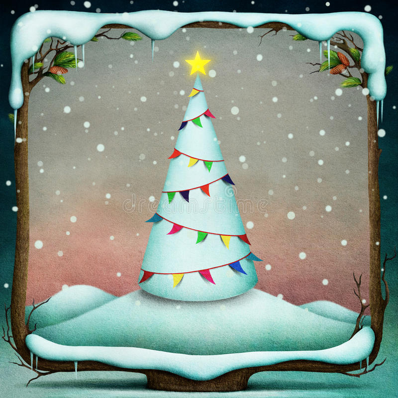 Download Christmas tree with flags. stock illustration. Image of decoration - 35036849