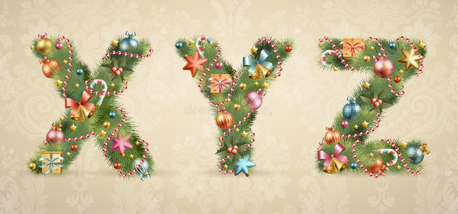 Christmas tree font with baubles. Vintage style. Vector illustration royalty free illustration