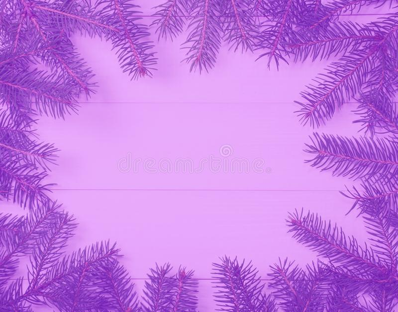 Christmas tree frame branches on wooden purple toned blurred background with copy space. Horizontal template for design. Christmas tree frame branches on wooden royalty free stock photos
