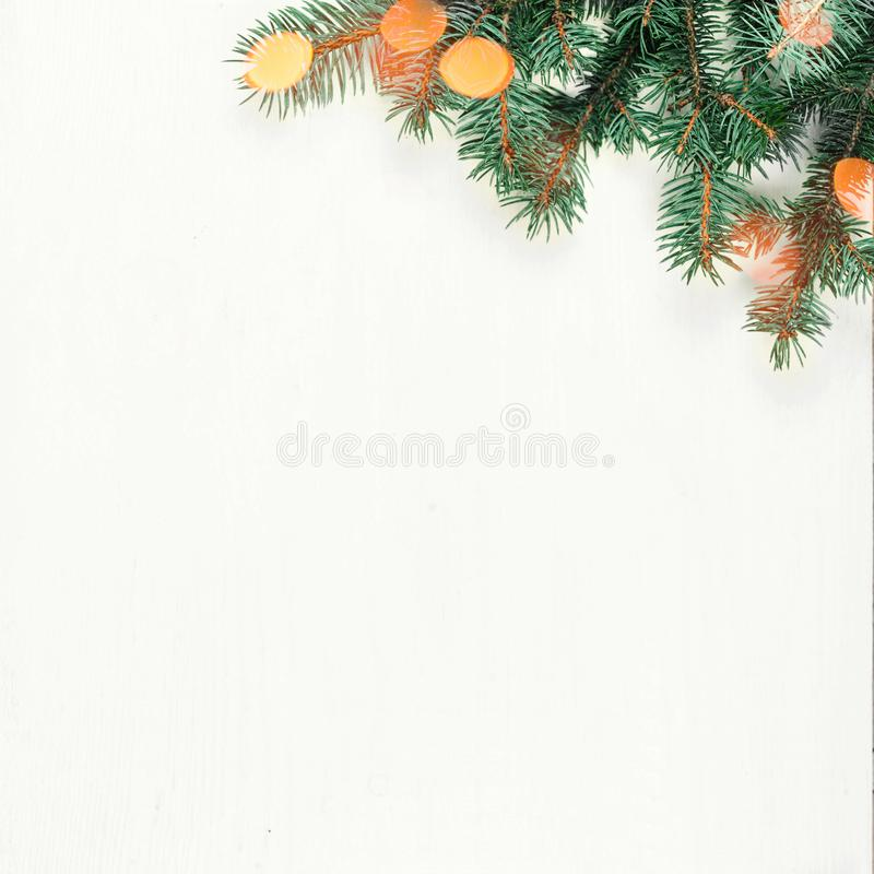 Christmas Tree Frame And Holidays Ornaments With Sparkling Light ...