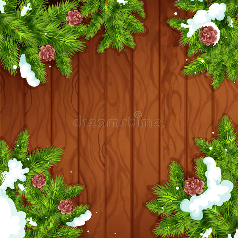 Christmas tree frame on wooden background. Christmas wooden background. Fir and pine green branches with snow and cone on wooden plank background with copy space vector illustration