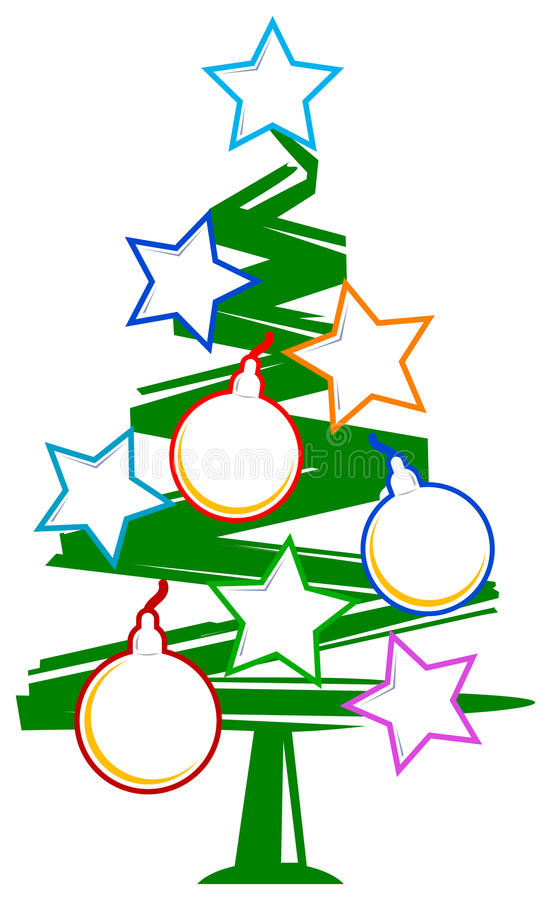 Christmas tree with frames royalty free illustration