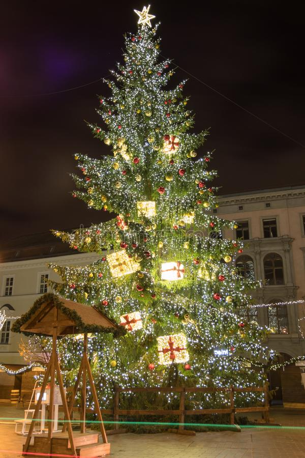 Christmas tree on Freedom square in Brno, Czech Rebublic. Europe royalty free stock photos