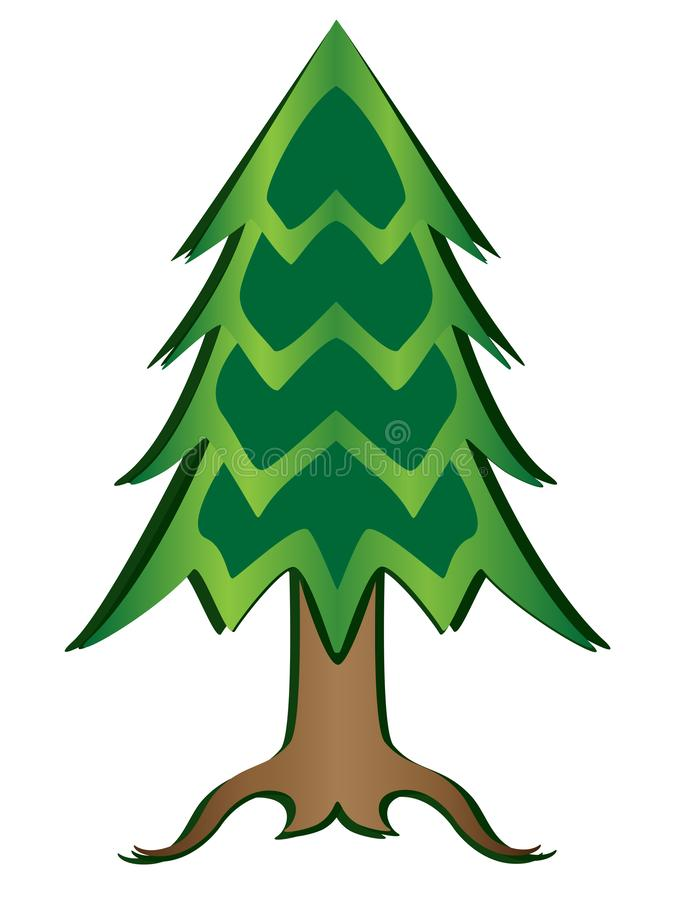 Christmas tree full color picture. Paper cut conifer tree vector illustration with gradient. Green tree: trunk, needles, roots stock illustration