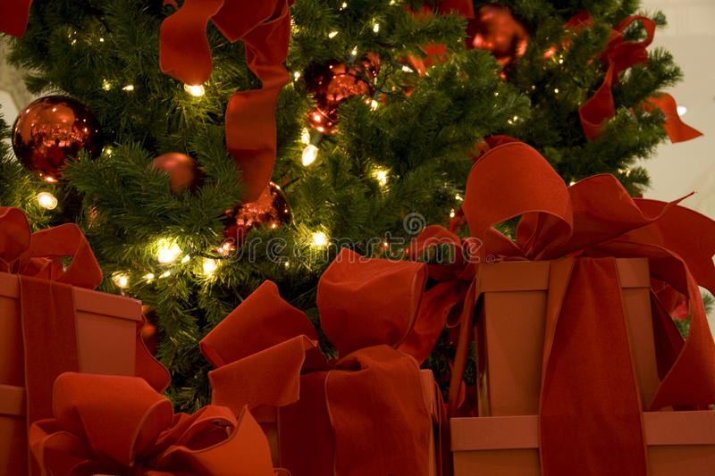 Christmas tree and gift boxes stock photos