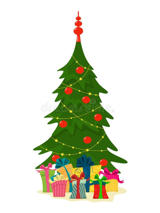 Christmas tree with gift boxes. Vector illustration in cartoon flat style on a white background. vector illustration