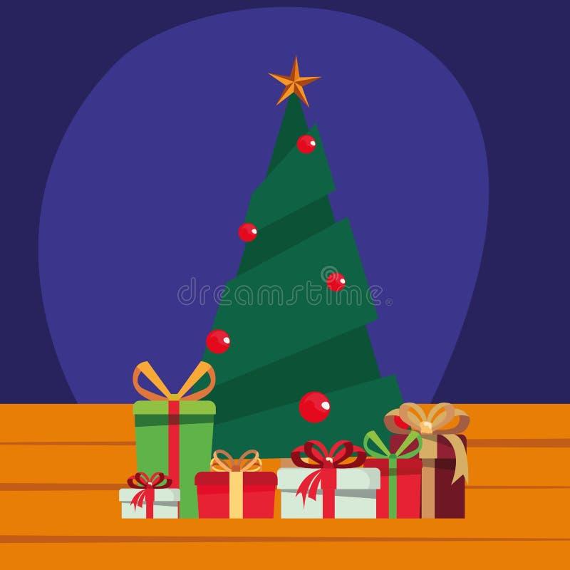 Christmas tree gift boxes wooden background. Vector illustration stock illustration
