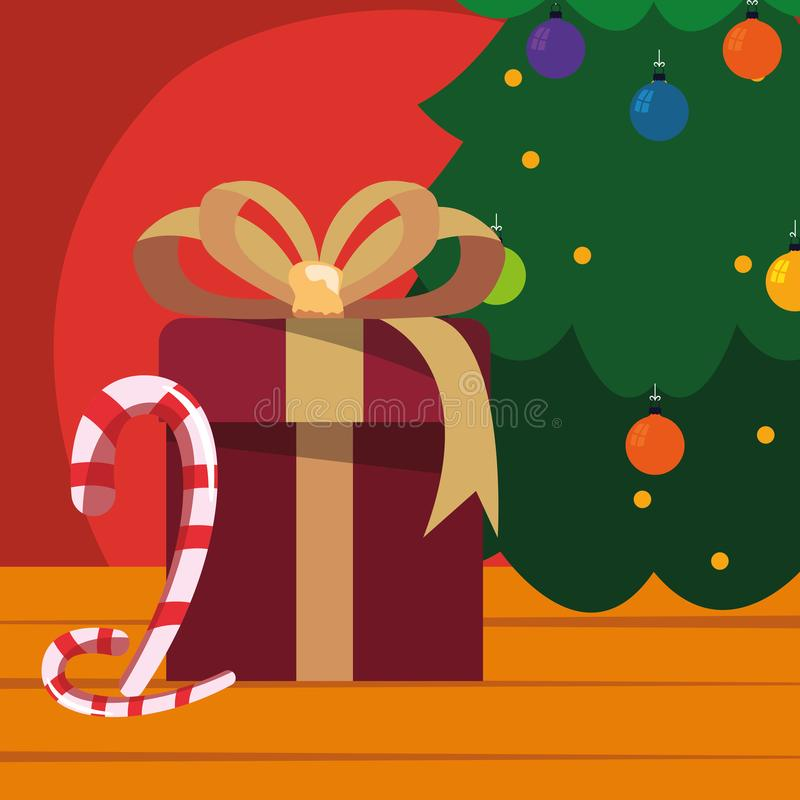 Christmas tree gift candy cane wooden background. Vector illustration stock illustration