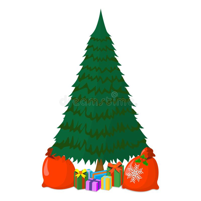 Christmas Tree with Gift Icon Concept. Xmas Tree on White Background. New Year Symbol, Icon and Badge. Cartoon Vector illustration stock illustration