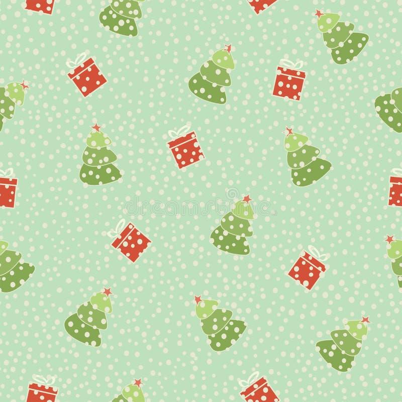 Christmas Tree Gift Seamless Background Stock Photo