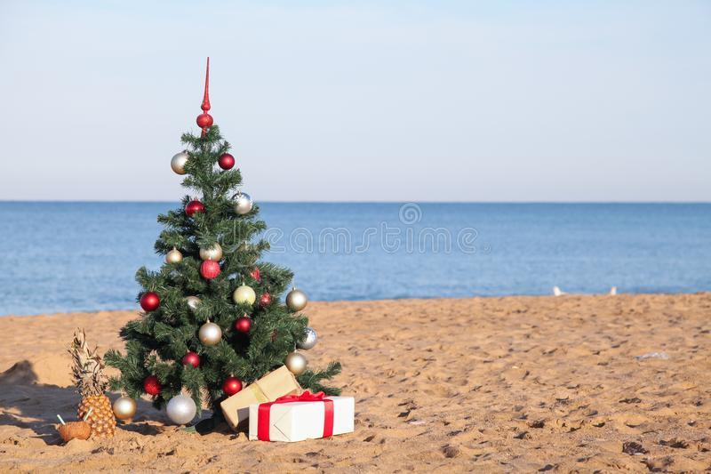 Christmas tree with the gift of tropical resort on the beach stock photography