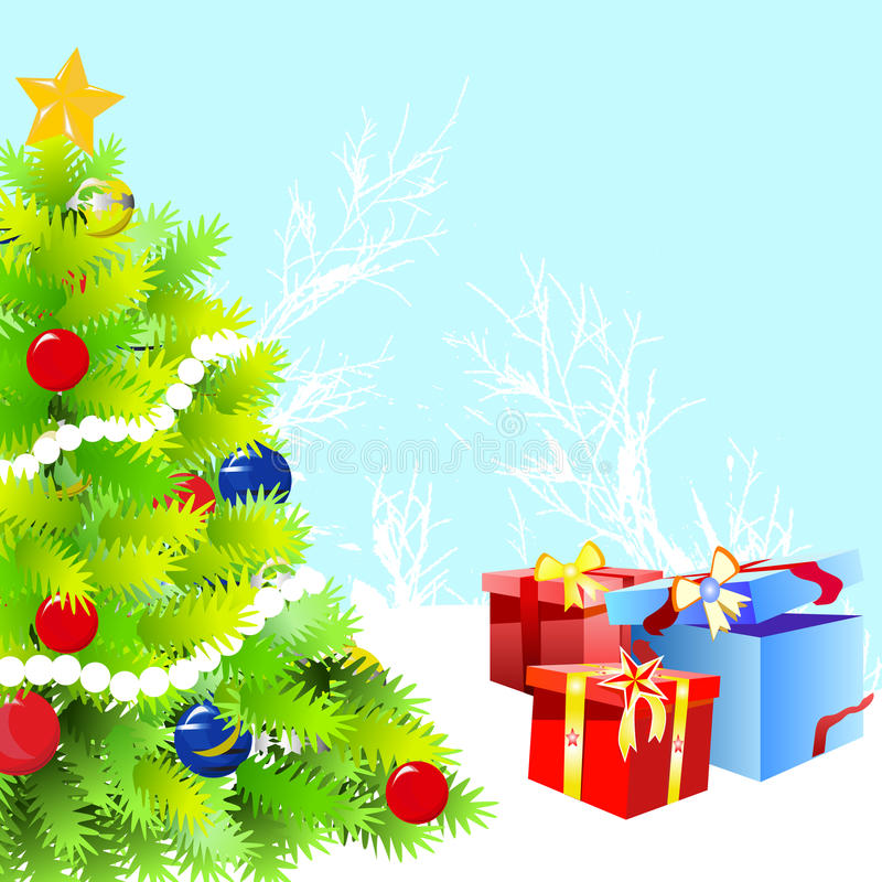 Christmas tree and gift vector royalty free illustration