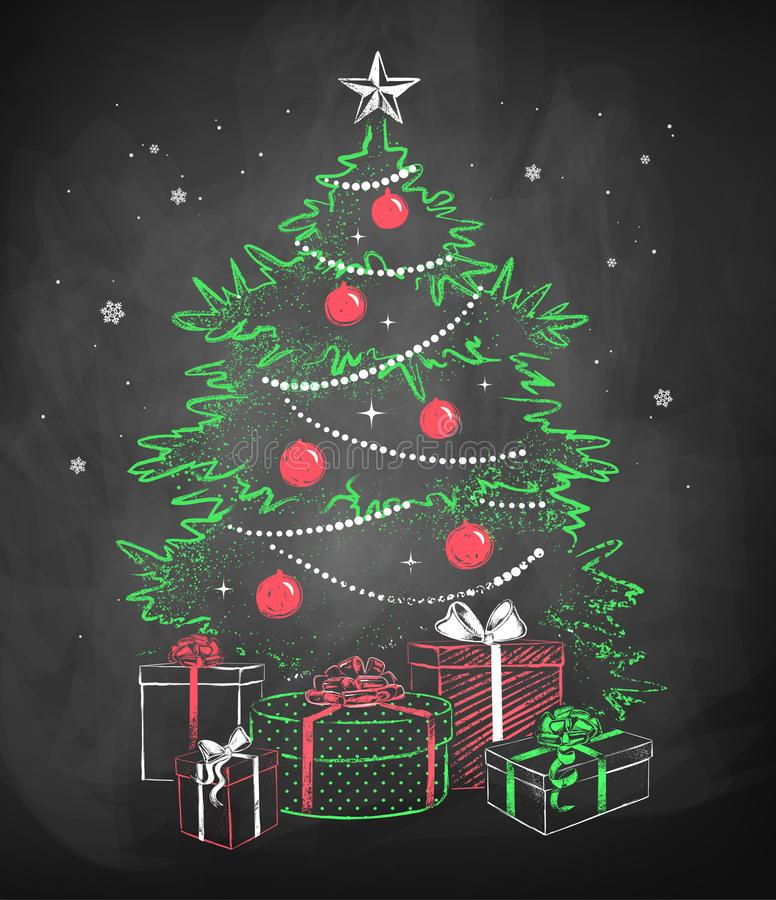 Christmas tree with gift wrapped boxes vector illustration