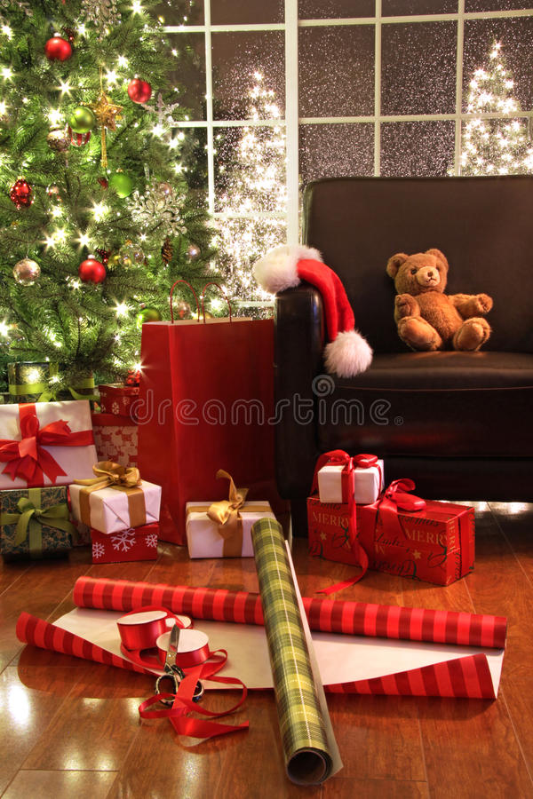 Download Christmas tree with gifts stock photo. Image of bear - 11854456