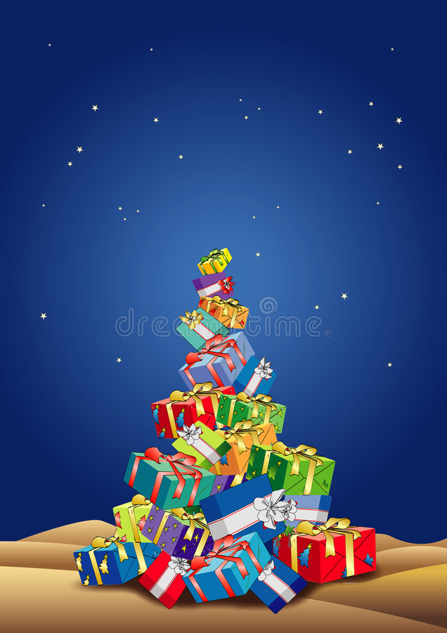 Christmas tree gifts stock images