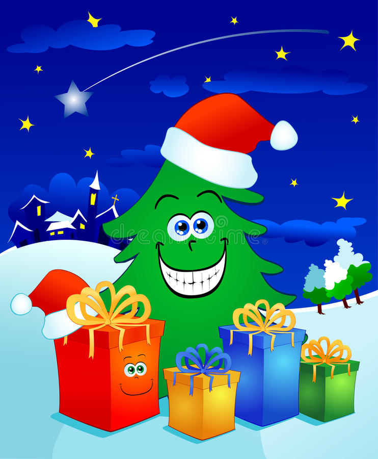 Download Christmas tree with gifts stock illustration. Illustration of giving - 17153080